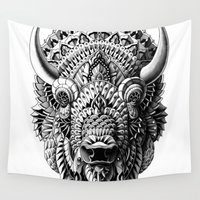 bioworkz Wall Tapestries featuring Bison by BIOWORKZ