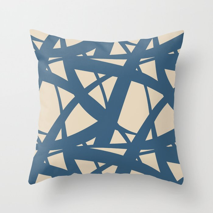 Beige & Dark Blue Abstract Mosaic Pattern 3 Pairs To 2020 Color of the Year Chinese Porcelain Throw Pillow