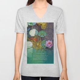 Serenity Prayer Koi Pond Lotus Unisex V-Neck