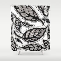 alisa burke Shower Curtains featuring black and white leaves by Alisa Burke