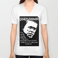 bukowski V-neck T-shirts featuring Charles Bukowski by brett66