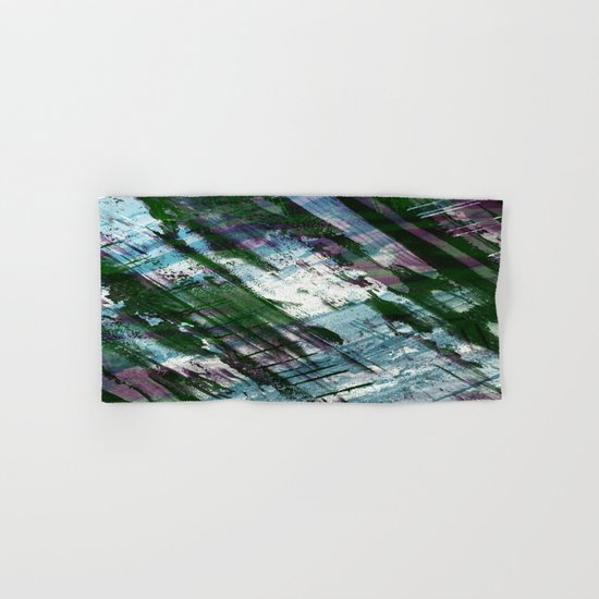 Escape! - Green, purple and cyan metallic abstract art Hand & Bath Towel