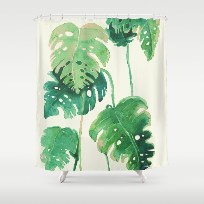 tropical leaves Shower Curtain by franciscomffonseca | Society6