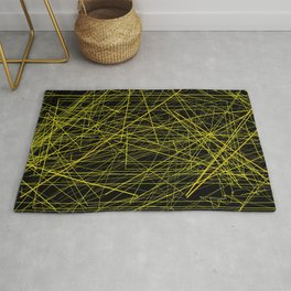 Industrial Design yellow black laser light ray night scaffolding Angelis Rug