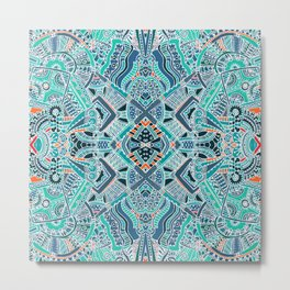 Tribal Bohemian Turquoise Blue Pattern Metal Print