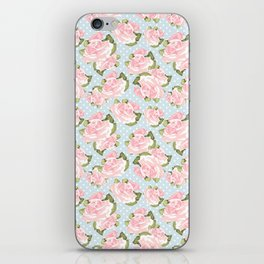 Pink Roses on Blue Polka Dots iPhone Skin