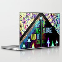 scripture Laptop & iPad Skins featuring RISE UP TAKE COURAGE AND DO IT Colorful Geometric Floral Abstract Painting Christian Bible Scripture by The Faithful Canvas
