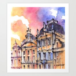 Brussels ink & watercolor illustration Art Print