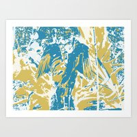 Psychedelic Wings, Blue & Yellow Art Print