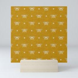 Bee Stamped Motif on Mustard Gold Mini Art Print