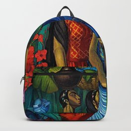 'Tehuanas con floripondios y gladiolas' floral tropical painting by Alfonso Pena Backpack