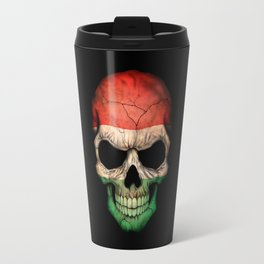Dark Skull with Flag of Hungary Travel Mug