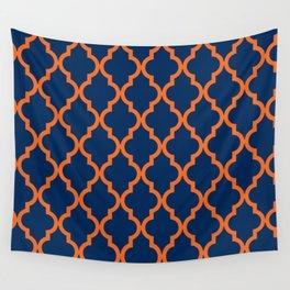 Moroccan Quatrefoil Pattern: Blue & Orange Wall Tapestry