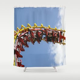 Coaster in the Sky Shower Curtain