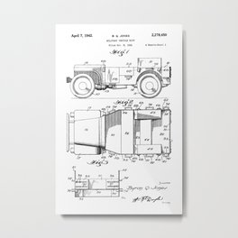 Jeep: Byron Q. Jones Original Jeep Patent Metal Print