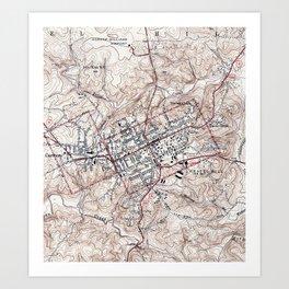 Vintage Map of Chapel Hill North Carolina (1946) Art Print
