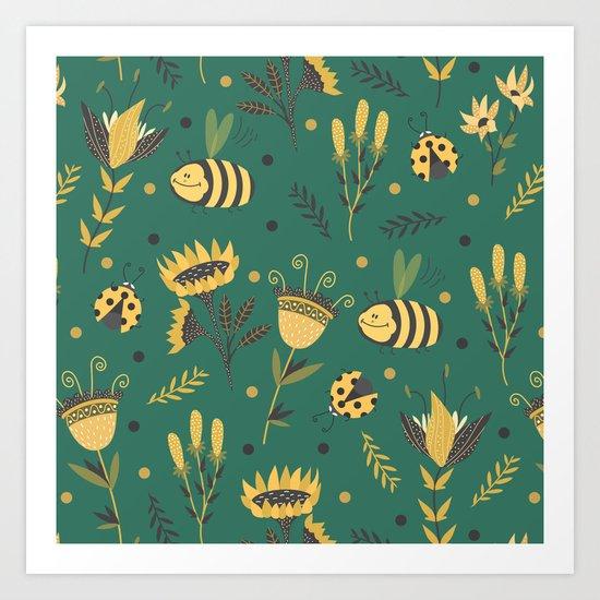 Bees and ladybugs Art Print