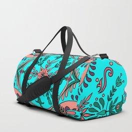 Garden folk art floaral with Scandinavian motifs-cyan and coral color palette Duffle Bag
