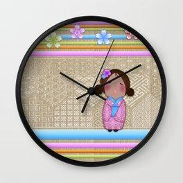 kokeshi sakura Wall Clock