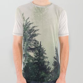 Foggy Pine Trees All Over Graphic Tee