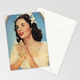 ELIZABETH TAYLOR PRAYING - MODERN SCREEN MAGAZINE Stationery Cards
