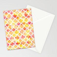 Modern summer pink orange tie dye hand painted watercolor quatrefoil pattern Stationery Cards