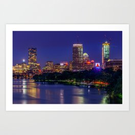 Rising Full Moon in Boston city Art Print