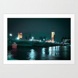 Big Ben and Houses of Parliament, Aquamarine Art Print