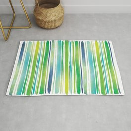 Watercolor Brush Stripes in Green and Blue Rug
