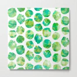 Watercolor Dots - Jungle Green Metal Print