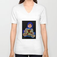 russian V-neck T-shirts featuring Russian dolls by maggs326