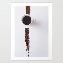 COFFEE - BEANS - CUP - PHOTOGRAPHY Art Print