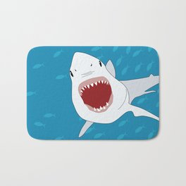 Shark Attack Underwater With Fish Swimming In The Background Bath Mat