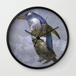 Penguin ponders Wall Clock