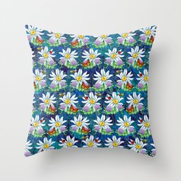 Flowers and bugs pattern Throw Pillow
