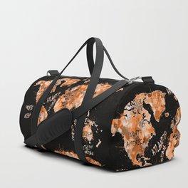 world map color splatter gold Duffle Bag