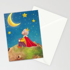 The Little Prince  on a small planet  in  night sky  Stationery Cards