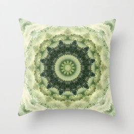 Mandala in Green gentle tones . Throw Pillow