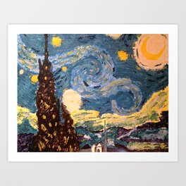 Starry Night Made With Nail Polish Art Print