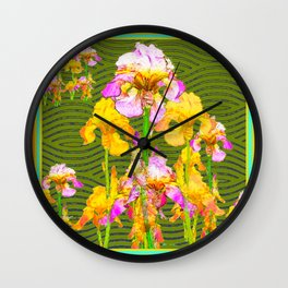 Avocado Green Pink-Yellow Yris Pattern Wall Clock