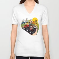 mario kart V-neck T-shirts featuring Super Fighting Kart by Legendary Phoenix