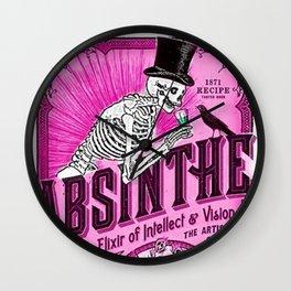 Vintage 1871 Absinthe Pink Liquor Skeleton Elixir Aperitif Cocktail Alcohol Advertisement Poster Wall Clock