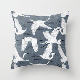 Soaring Wings - Steel Blue Grey Throw Pillow