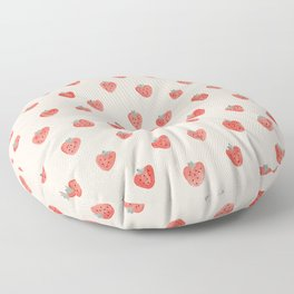 Strawberries on Pink Floor Pillow