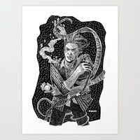 david bowie Art Prints featuring David Bowie  by Ryan Barr