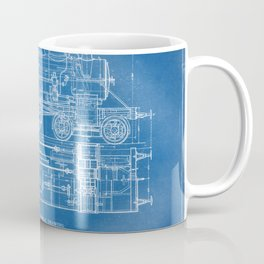 Steam Train Diagram - Blueprint Style Coffee Mug