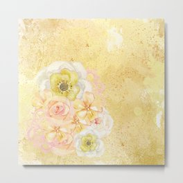 Yellow Floral Watercolor Metal Print