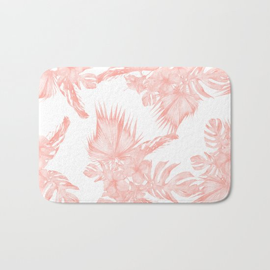 Tropical Hibiscus and Palm Leaves Coral White Bath Mat