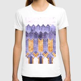 Turtle Shell Geometric | Art Deco | Purple & Gold T-shirt