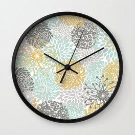 Floral Abstract Print, Yellow, Gray, Aqua Wall Clock